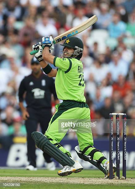 Fawad Alam of Pakistan hits out during the 3rd NatWest One Day International between England and Pakistan at The Brit Insurance Oval on September 17...