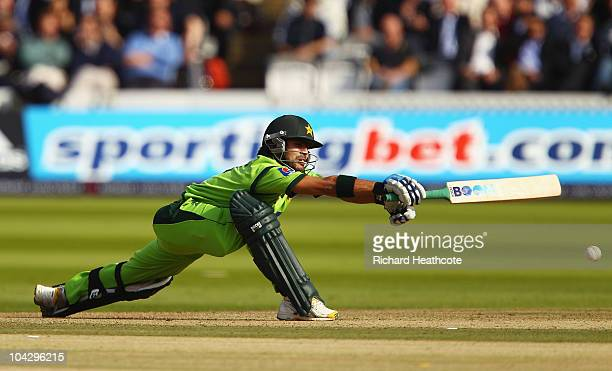 Fawad Alam of Pakistan hits out during the 4th NatWest One Day International between England and Pakistan at Lord's on September 20 2010 in London...