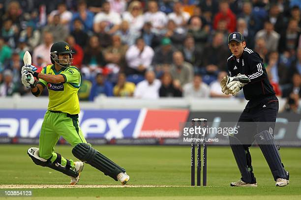 Fawad Alam of Pakistan hits out during the NatWest T20 International match between England and Pakistan at the Swalec Stadium on September 5 2010 in...
