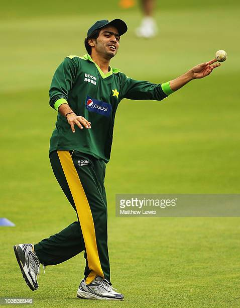 Fawad Alam of Pakistan in action during a Pakistan nets session at the SWALEC stadium on September 4 2010 in Cardiff Wales