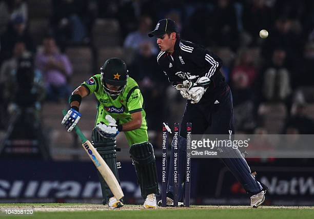 Fawad Alam of Pakistan is bowled by Graeme Swann of England during the 5th NatWest One Day International between England and Pakistan at The Rose...