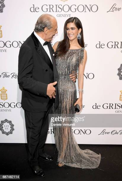 Fawaz Gruosi and Praya Lundberg attend the De Grisogono 'Love On The Rocks' party during the 70th annual Cannes Film Festival at Hotel du CapEdenRoc...