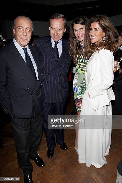 Fawaz Gruosi Simon de Pury founder of the Emdash Foundation Andrea Dibelius and guest attend a private dinner hosted by Matthew Slotover and Amanda...