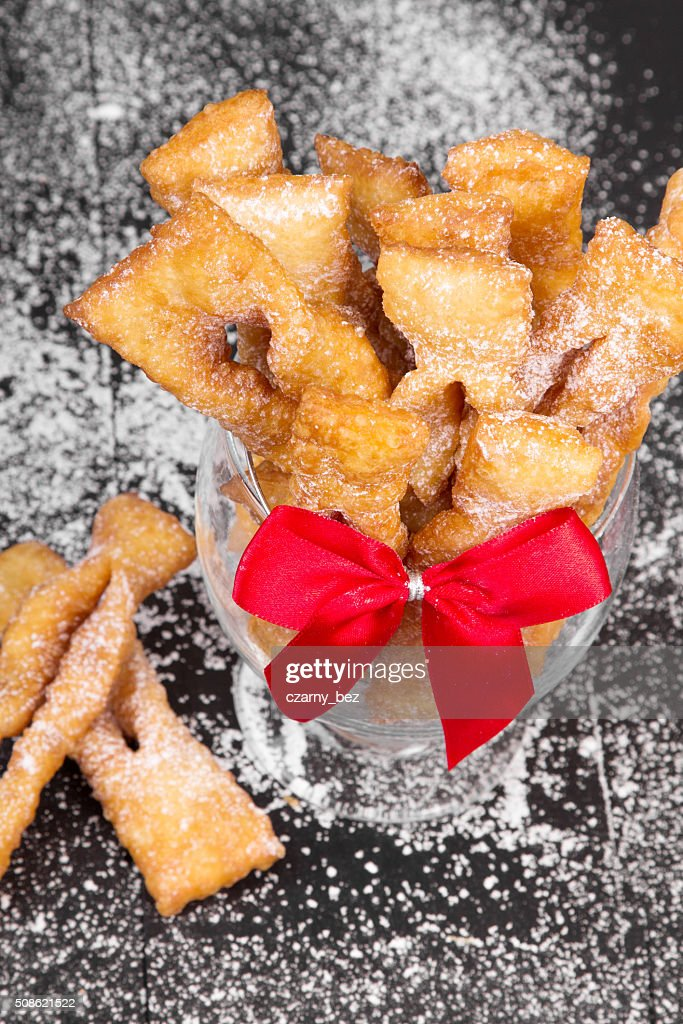 Faworki - Traditional Polish cookies served at Fat Thursday : Stock Photo