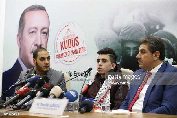 Fawzi Al Junaidi who was manhandled and detained by Israeli soldiers and became the symbol of Jerusalem resistance speaks during a joint press...
