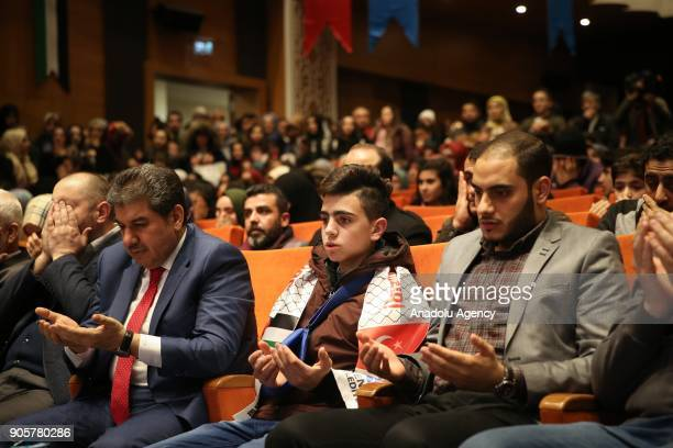 Fawzi alJunaidi who was manhandled and detained by Israeli soldiers and became the symbol of Jerusalem resistance attends the programme related with...