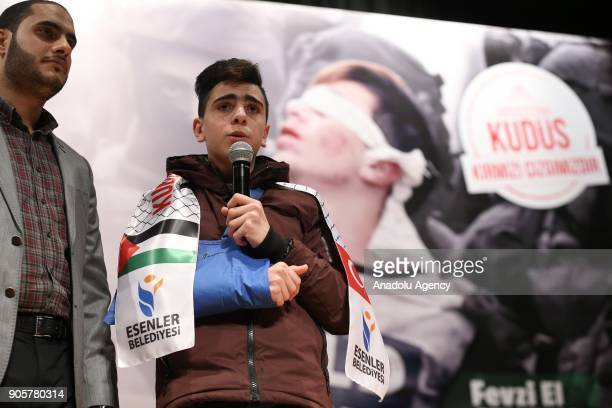 Fawzi alJunaidi who was manhandled and detained by Israeli soldiers and became the symbol of Jerusalem resistance makes a speech as he attends the...