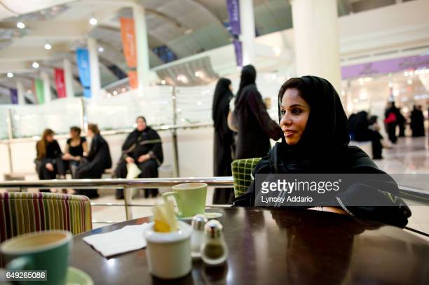 Fawzia Baker Al Bakr poses for a portrait at the Retro Cafe in the Ladies Kingdom Center one of the few malls in Riyadh with a floor dedicated to...