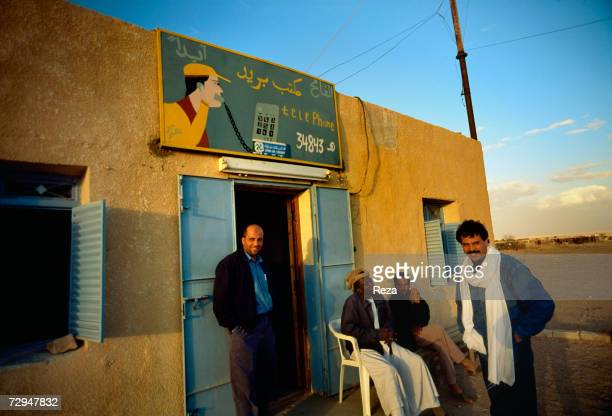 A fax and telecommunication Sudanese operator office stands on the construction site of the Great Man Made River in the Sahara Desert May 2000 in...