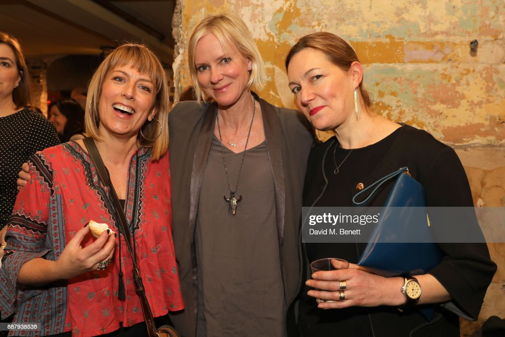 Fay Ripley, Hermione Norris, and Tanya Ronder attend a drinks reception during the press night performance of 'The Box Of Delights' at Wilton's Music Hall on December 7, 2017 in London, England.