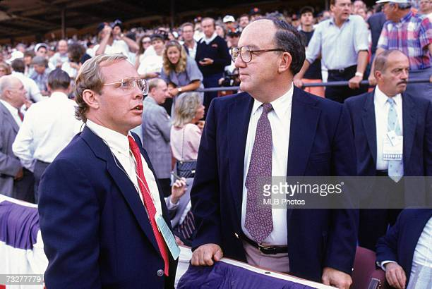 Fay Vincent, Commissioner of Major League Baseball, right, and ABC commentator Gary Thorne look on with concern after an earthquake, measuring 7.1 on...