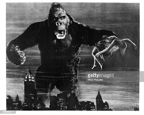 Fay Wray is grabbed by King Kong in a scene from the film 'King Kong' 1933