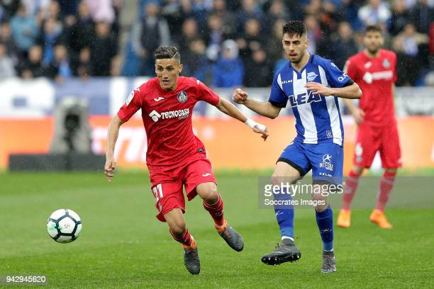 Faycal Fajr of Getafe Burgui of Deportivo Alaves during the La Liga Santander match between Deportivo Alaves v Getafe at the Estadio de Mendizorroza...