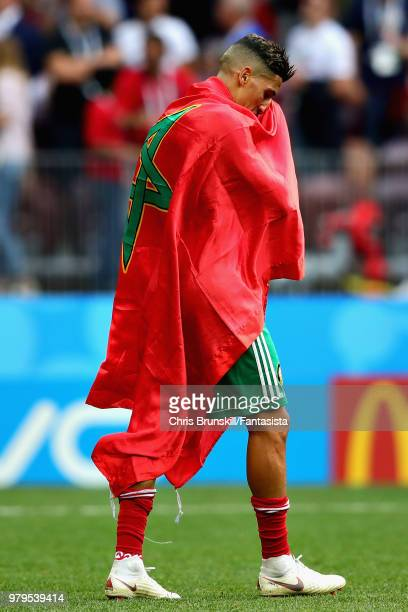 Faycal Fajr of Morocco looks dejected after the 2018 FIFA World Cup Russia group B match between Portugal and Morocco at Luzhniki Stadium on June 20,...