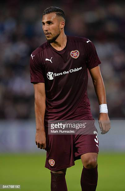Faycal Rherras of Heats in action during the UEFA Europa League First Qualifying Round match between Heart of Midlothian FC and FC Infonet Tallinn at...