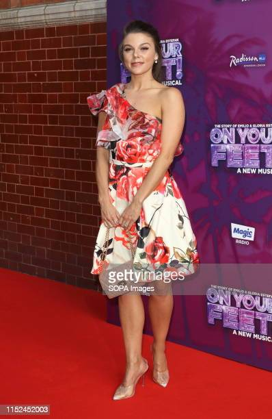 Faye Brookes arrives on the red carpet during the On Your Feet Press Night at the London Coliseum St Martin's Lane