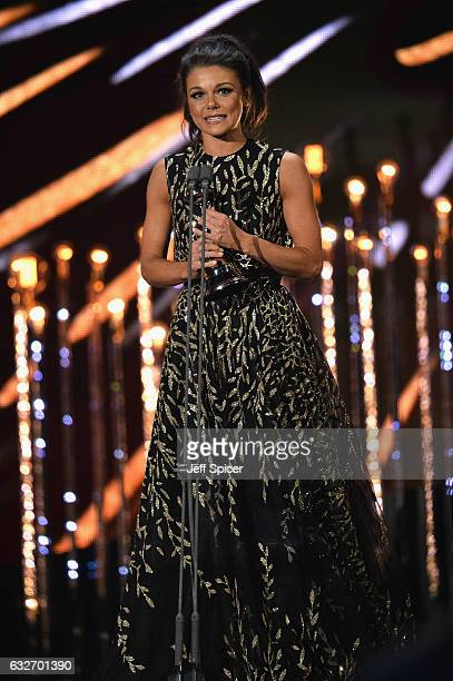Faye Brookes wins the Best Newcomer award during the National Television Awards at The O2 Arena on January 25 2017 in London England
