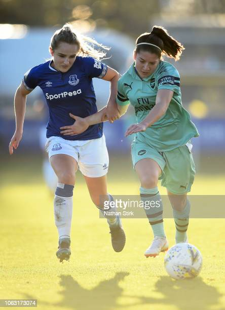 Faye Bryson of Everton battles for possession with Ruby Grant of Arsenal during the FA WSL match between Everton Ladies and Arsenal Women on November...