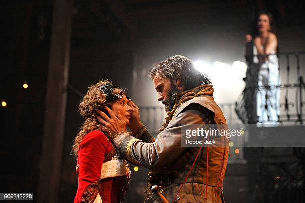Faye Castelow as Hellena, Joseph Millson as Willmore and Alexandra Gilbreath as Angellica Bianca in the Royal Shakespeare Company's production of...