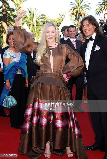 Faye Dunaway and A Guest during 2006 Cannes Film Festival 'Marie Antoinette' Premiere at Palais des Festival in Cannes France