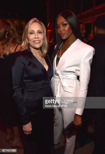 Faye Dunaway and Naomi Campbell attend the 2018 Vanity Fair Oscar Party hosted by Radhika Jones at Wallis Annenberg Center for the Performing Arts on...