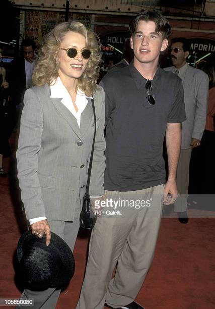 Faye Dunaway and Son Liam O'Neill during The Cable Guy Los Angeles Premiere at Mann's Chinese Theater in Hollywood California United States