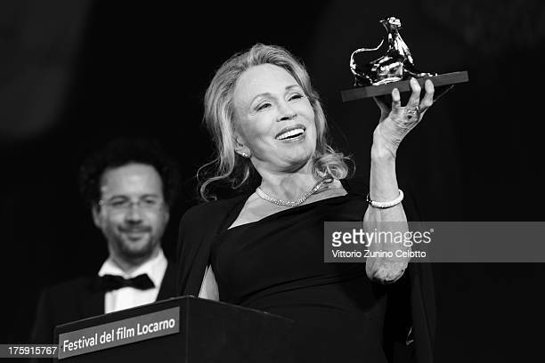 Faye Dunaway receives the Leopard Club Award during the 66th Locarno Film Festival on August 9 2013 in Locarno Switzerland