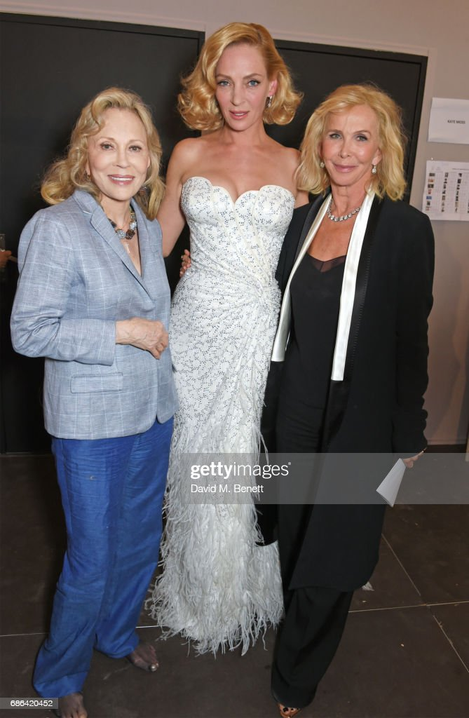 Faye Dunaway, Uma Thurman and Trudie Styler pose backstage at the Fashion for Relief event during the 70th annual Cannes Film Festival at Aeroport Cannes Mandelieu on May 21, 2017 in Cannes, France.