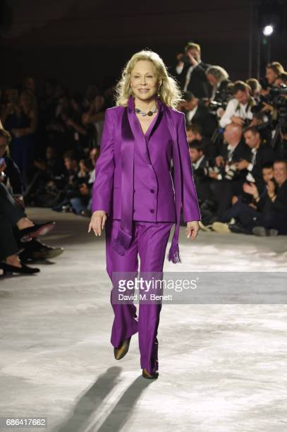 Faye Dunaway walks the runway at the Fashion for Relief event during the 70th annual Cannes Film Festival at Aeroport Cannes Mandelieu on May 21 2017...