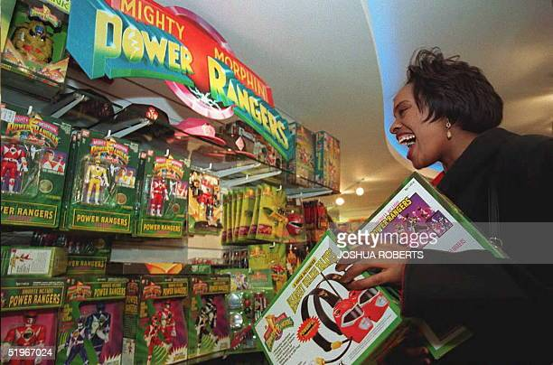 Faye Gunn shops for Power Ranger dolls heros of the TV series 'Mighty Morphin Power Ranger' which made its first US appearance in July 1993 at a...