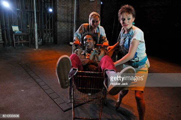 Faye Marsay Lemn Sissay and Liz White in Jim Cartwright's Road directed by John Tiffany at the Royal Court Theatre on July 26 2017 in London England