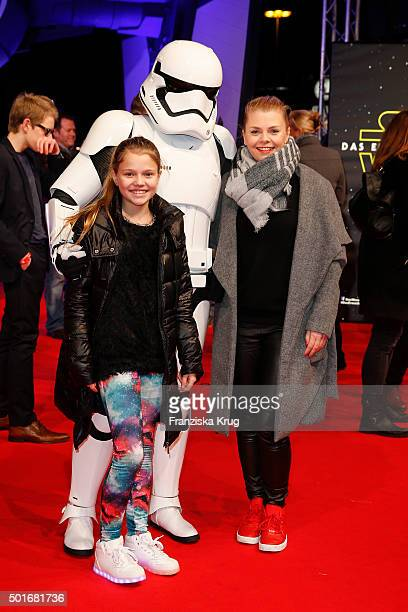 Faye Montana and AnneSophie Briest attend the German premiere for the film 'Star Wars The Force Awakens' at Zoo Palast on December 16 2015 in Berlin...