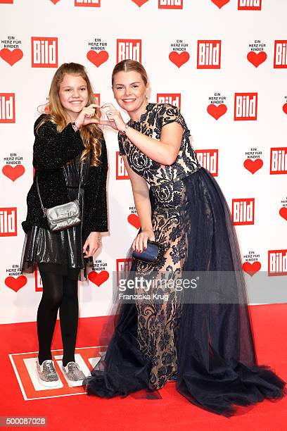 Faye Montana Briest and her mother AnneSophie Briest attend the Ein Herz Fuer Kinder Gala 2015 at Tempelhof Airport on December 5 2015 in Berlin...