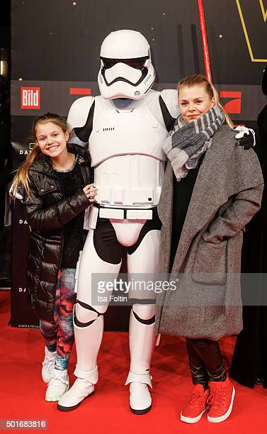 Faye Montana Briest and her mother Anne-Sophie Briest attend the German premiere for the film 'Star Wars: The Force Awakens' at Zoo Palast on...