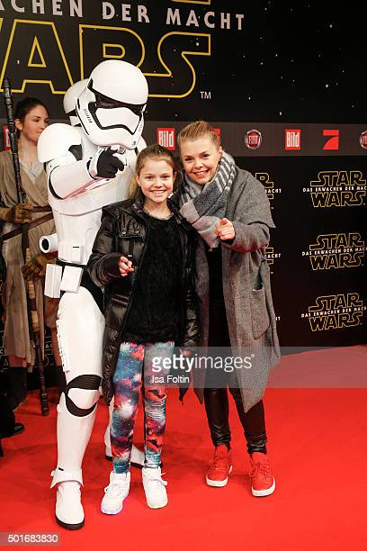 Faye Montana Briest and her mother AnneSophie Briest attend the German premiere for the film 'Star Wars The Force Awakens' at Zoo Palast on December...