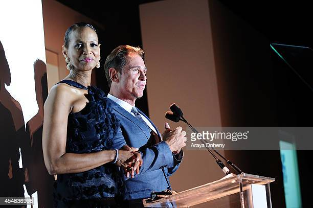 Faye Moseley and Jeff Valenson attend the Project Angel Food's 25th Anniversary Angel Awards 2014 honoring Aileen Getty with the Inaugural Elizabeth...