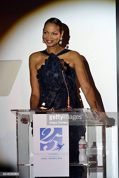 Faye Moseley attends the Project Angel Food's 25th Anniversary Angel Awards 2014 honoring Aileen Getty with the Inaugural Elizabeth Taylor Leadership...