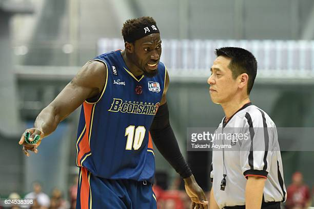 Faye Pape Mour of the Yokohama BCorsairs argues a call during the B League match between Yokohama BCorsairs v Toyama Grouses at the Yokohama...