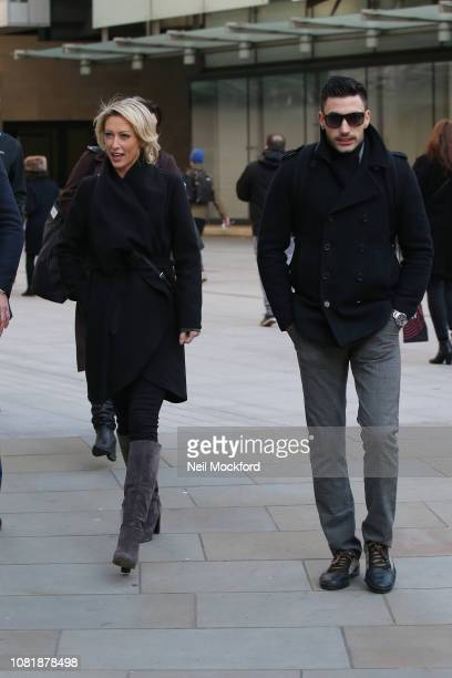 Faye Tozer and Giovanni Pernice seen at BBC Radio Studios ahead of this weekends 'Strictly Come Dancing' Final on December 13 2018 in London England