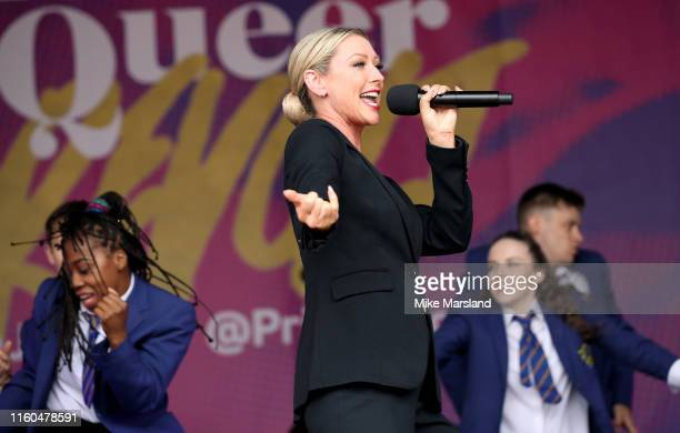 Faye Tozer from Everybody's Talking About Jamie onstage during Pride in London 2019 at Trafalgar Square on July 06 2019 in London England