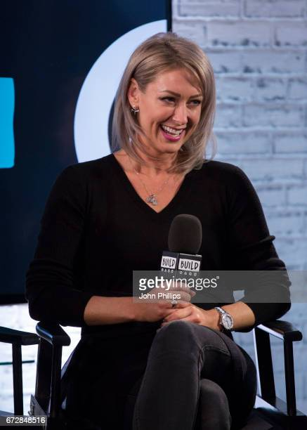 Faye Tozer of Steps speaks during a BUILD event at AOL London on April 25 2017 in London England