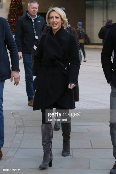 Faye Tozer seen at BBC Radio Studios ahead of this weekends 'Strictly Come Dancing' Final on December 13 2018 in London England