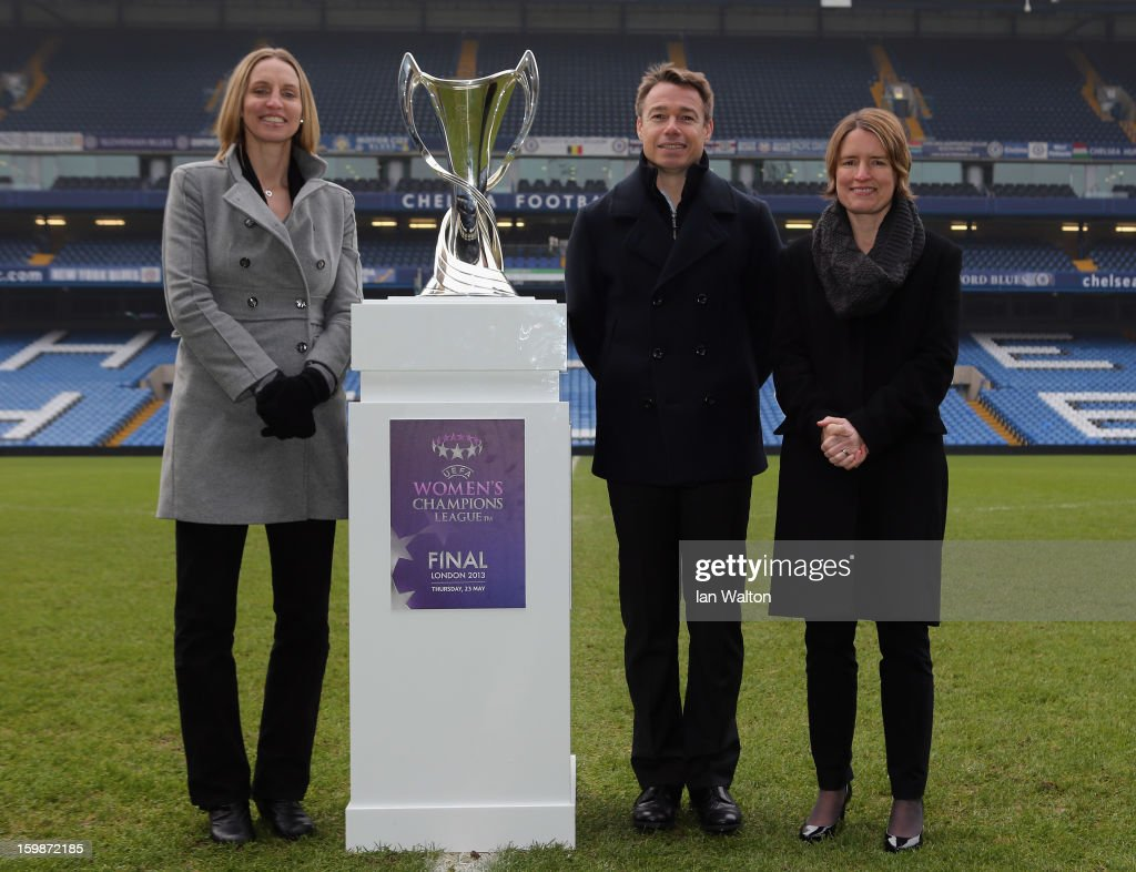 Faye White and Graeme le Saux with Kelly Simmons, Director of The National Game and Women's Football, The Football Associationpose during the ticket launch for the UEFA Women's Champions League Final at Stamford Bridge on January 22, 2013 in London, England.