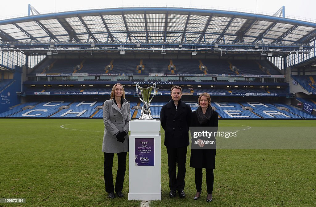 Faye White and Graeme le Saux with Kelly Simmons, Director of The National Game and Women's Football, The Football Association pose during the ticket launch for the UEFA Women's Champions League Final at Stamford Bridge on January 22, 2013 in London, England.