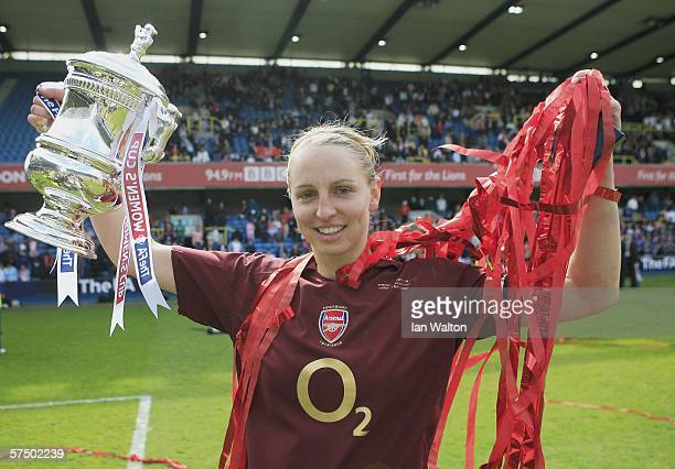 Faye White of Arsenal Ladies celebrates after winning the Womens FA Cup Final match between Leeds United Ladies v Arsenal Ladies at the New Den on...