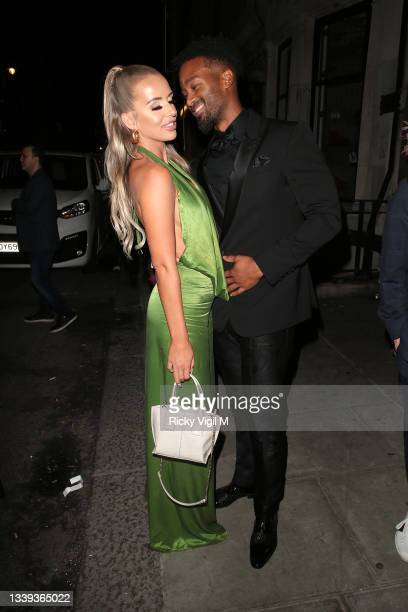Faye Winter and Teddy Soares seen attending National Television Awards 2021 afterparty at Bagatelle in Mayfair on September 09, 2021 in London,...