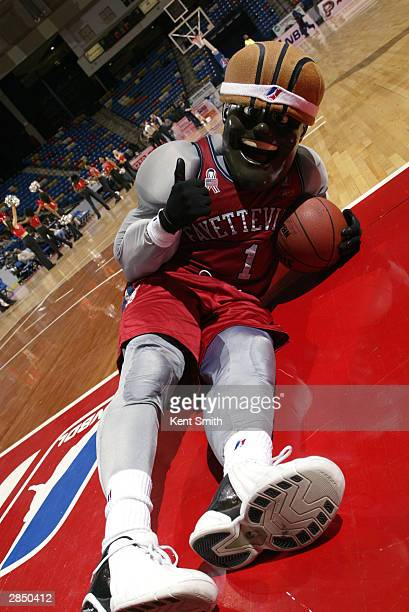 Fayetteville Patriots mascot, Sgt. Slam, poses for the camera during an intermission in the game against the Columbus Riverdragons at Crown Coliseum...