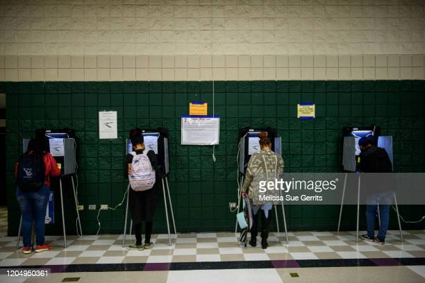 Fayetteville State University students fill out ballots at Smith Recreation Center on March 3, 2020 in Fayetteville, North Carolina. 1,357 Democratic...