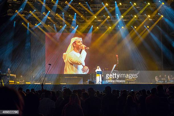 Fayez Alsaeed performs at a concert during the Abu Dhabi Formula One Grand Prix on November 20 2014 in Abu Dhabi United Arab Emirates