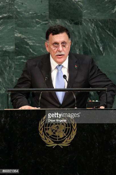 Fayez al-Sarraj, chairman of the Presidential Council of Libya, addresses United Nations General Assembly at UN headquarters, September 20, 2017 in...